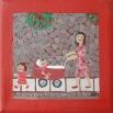 Mor med rød barnevogn