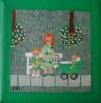 Mor med grøn barnevogn
